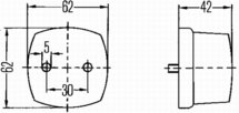Positielicht 12V of 24V, zwarte grondplaat, verticale montagetolerantie -30° tot +15°, C5W gloeilamp