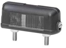 Kentekenlamp 12V of 24V, vlakstekkeraansluiting, lamphuis van zwart kunststof