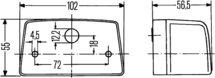 Kentekenlamp 12V of 24V, lamphuis en sokkel van zwart kunststof