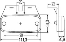 Zijmarkeringslamp 24V met reflector, kabel 2m/0,5m, met steun